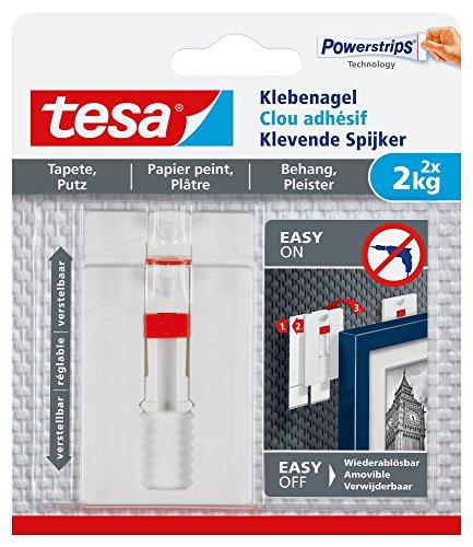 tesa 77777-00000-00 Tapete & Putz bis 2kg Verstellbarer Klebenagel für Tapeten und Putz/Selbstklebender Nagel Powerstrips / 2 x 2 kg Halteleistung, Weiß, 2 kg, 2 Stück