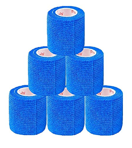 2 Inch Self Adhesive Medical Bandage Wrap Sport Tape (Deep Blue) (6 Rolls) Self Adherent Cohesive First Aid Sport Flex Wrist Ankle Knee Sprains and Swelling