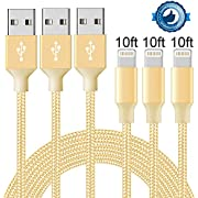 Jebei Lightning Cable, iPhone Charging Cord, 3Pack [3FT 6FT 10FT] Nylon Braided Data Syncing to USB Charger for iPhone X/8/8 Plus/7/7 Plus/6s/6s Plus/6/6 Plus/5s/5/and iPad etc ...