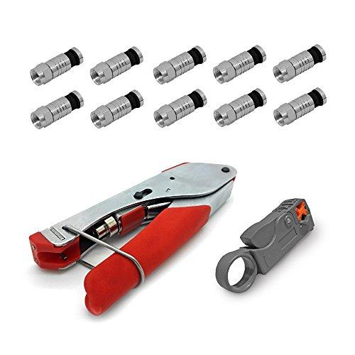HD Sat Kompressionszange Zange Kabelmesser 10 x F Kompressionsstecker 7 - 7,5 mm Stecker ARLI