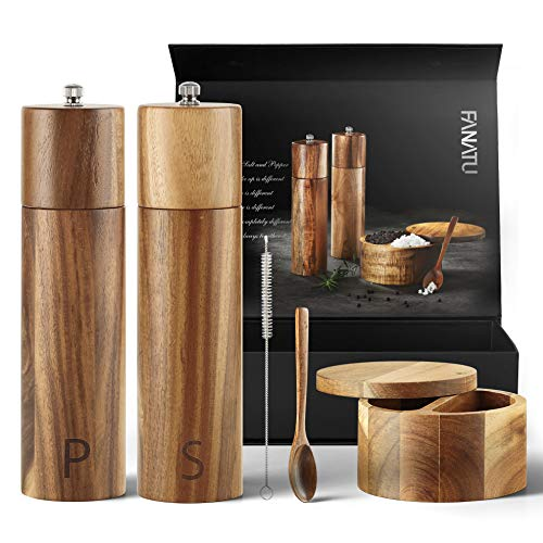 Wooden Salt and Pepper Grinder Set - Premium Set Includes Salt and Pepper Mill, Salt and Pepper Box with Swivel Lid, Spoon & Cleaner Tool - Perfect Salt and Pepper Shakers Gift (8 inch)