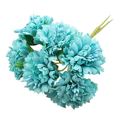 JIANDONG Mini Artificial Daisy 6pcs / Bündel 3.5cm Marigold-Blumen-Blumenstrauß-Blumen-Hochzeit Dekoration Manual Craft Home Decoration Accessorie (Color : Green)