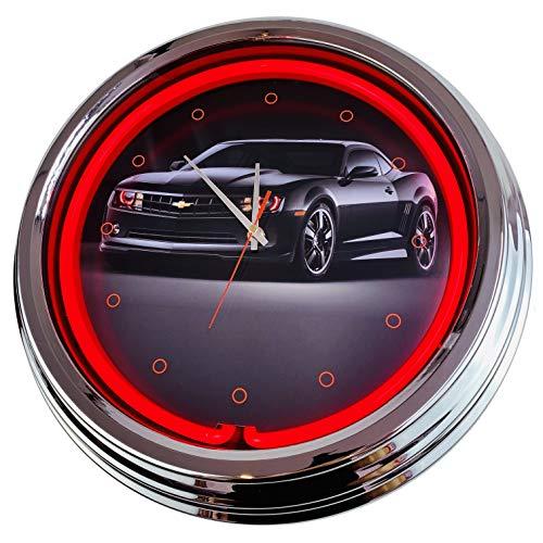 Neon Uhr Black Camaro Wanduhr Deko-Uhr Leuchtuhr USA 50's Style Retro Neonuhr Esszimmer Küche Wohnzimmer Büro (Rot)