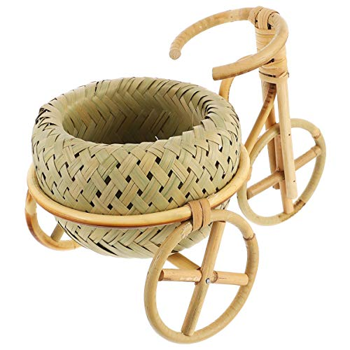 Nbrand Vase de Vélo Mini Rotin Tissage Panier Support de Plante de Vélo Nostalgique Vélo Fleur Artificielle Décor pour Bricolage Fournitures de Bureau Décoratives (Marron Clair)