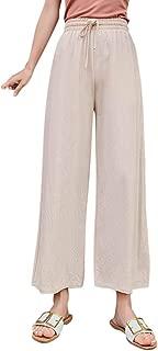 Pantaloni Donna Lino Yoga Misto Cotone lungo Spiaggia Estiva Gamba Colore