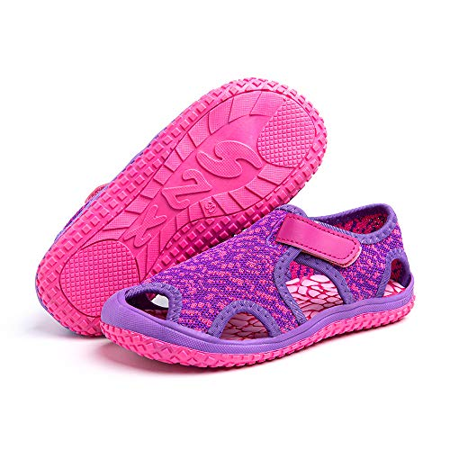 SandalenKinder Sommer Schuhe Jungen Mädchen SandalenAntiRutsch Atmungsaktiv Wandern Baby SandalenHalboffene Outdoor Strand Pink Violett Blau Grau Grün EU 21-31 Violett2 31