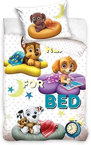 PawPatrol - Juego de cama con funda nórdica de 100 x 135 cm y funda de 40 x 60 cm, 100% algodón, para cuna o cama de bebé o joven evolutiva Paw Patrol