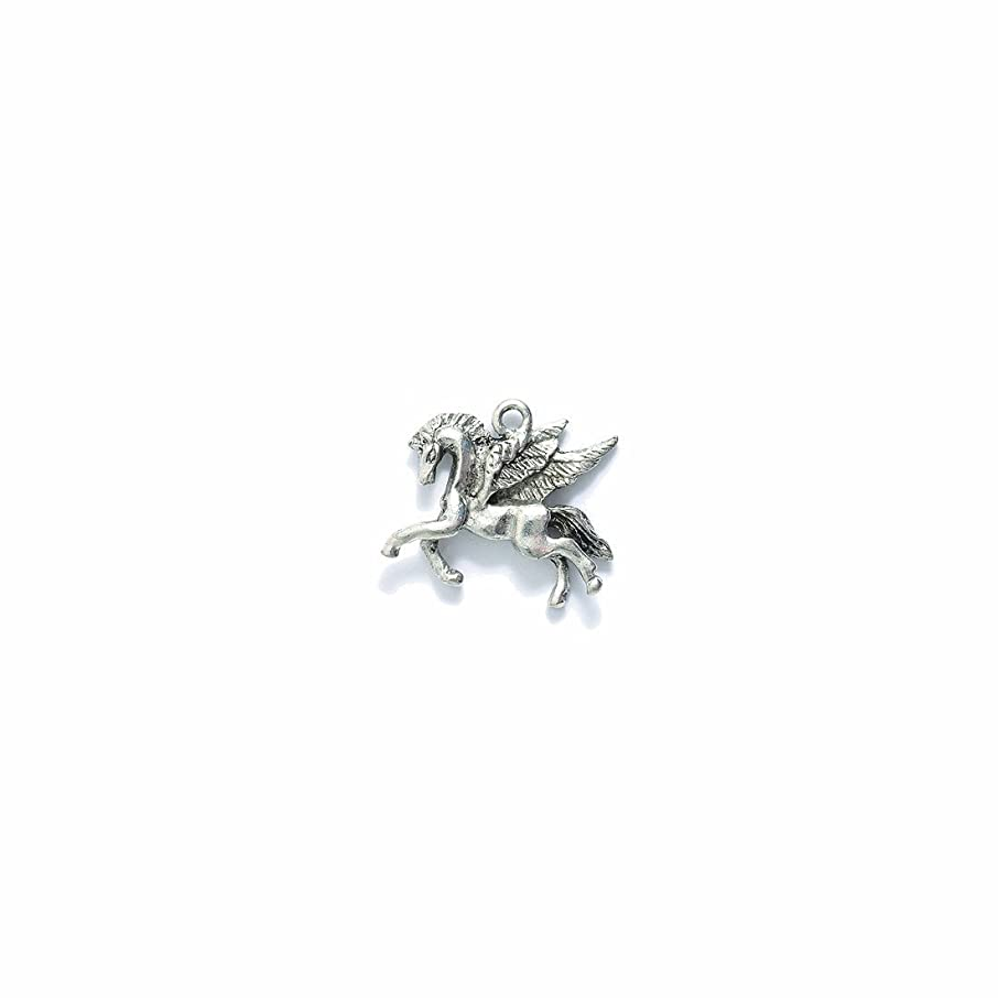 Shipwreck Beads Pewter Unicorns and Pegasus Charm, Metallic, Silver, 19 by 22mm, 3-Piece