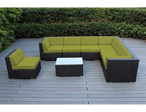 Hot Sale Ohana Collection pn0804peridot Outdoor Patio Wicker Furniture 8-Piece Couch Set with Free Patio Cover, Peridot