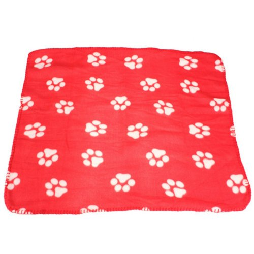 IRISMARU Cute Handcrafted Cozy Warm Paw Print Pet Dog Cat Fleece Blanket Mats, Red+whiteclaw