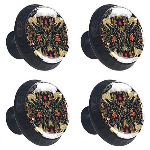 Zwarte dinosaurus met koele slangenronde keukenkastknoppen, dressoir ladeknoppen, paddestoel badkamerkast 3.5×2.8CM/1.38×1.10IN Zwarte Fantasie Dieren Katten Vuurvogels en Vogels