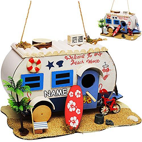 alles-meine.de GmbH Vogelhaus - Beach - Wohnwagen & Camper / Caravan - inkl. Name - aus Holz - 28 cm - Nistkasten Vogelhäuschen Vogelnistkasten - für Garten & Balkon - Bunte Farb..