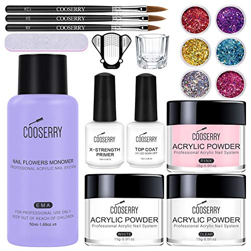 Cooserry Acrylic Powder And Liquid Set - 18 In 1 Acrylic Nail Kit Set With Monomer Acrylic Nail Liquid|Top Coat|6 Colors Glitter|3 Acrylic Nail Brush For Professional Beginners Acrylic Nail Extension