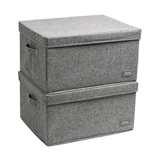 YueYue Large Fabric Storage Boxes with Lids,2 Pack Foldable Cloth Storage Box,Fabric Clothes Container Great for Organizers Bedroom Closet Living Room Grey (17.7'/13.8'/9.8')
