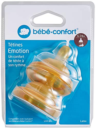 Bébé Confort 2 Tettarelle a Base Larga in Caucciu, Flusso Medio - Veloce, 6-24 Mesi, Misura 2