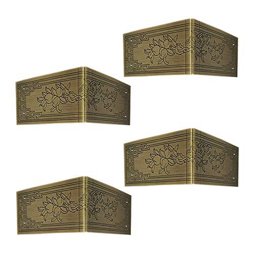 Tiazza 4 Stks Chinese stijl reliëf antieke messing decoratieve hoek beschermers beugels klassieke meubels tafels en stoelen TV kabinet hoek Guard Edge Cover 70x70x35mm Antiek brons