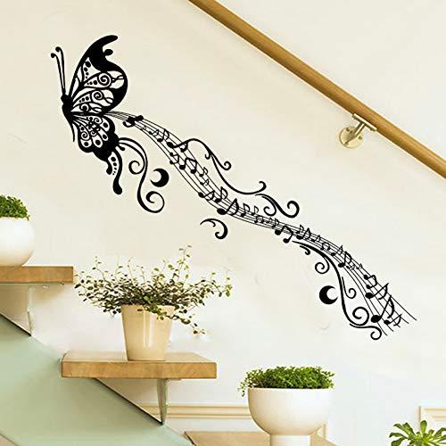 Zwarte Muziek Vlinder Wanddecoratie Stave Note Muurstickers PVC Muurstickers/Lijm Vinyl Woondecoratie voor Kinderen Kamer Verwijderbaar