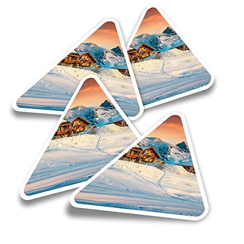 Pegatinas triangulares de vinilo (juego de 4) – Cabina de troncos Alpe D'Huez Francia Alpes divertidos calcomanías para portátiles, tabletas, equipajes, reservas de chatarra, neveras #21801