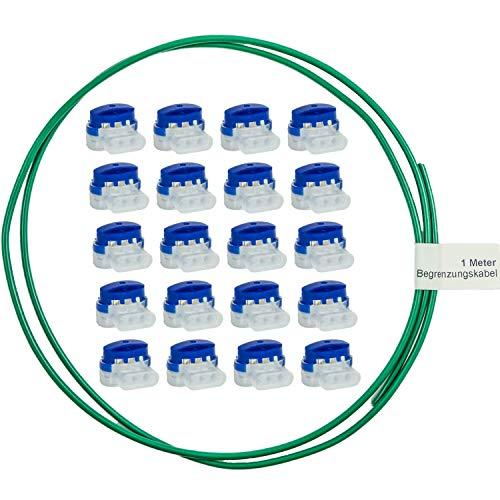 20 Stück – LoHaG – Kabelverbinder in praktischer Box + 1m Begrenzungskabel – Reparaturset – Ideal für Rasenmäher Mähroboter Rasenroboter Kabel Verbinder – Kabelklemmen Anschlussklemmen wasserdicht