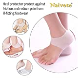 Naivete Vented Moisturizing Silicone Gel Heel Socks for Heel Swelling, Pain Relief, Dry