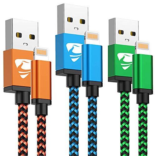 puissant chargeur iPhone [1,8M/ Lot de 3], Câble Lightning MFi certifié Aioneus, nylon tressé, charge rapide…