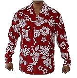 Men's Long Sleeve Classsic Hibiscus Luau Cruise Hawaiian Aloha Shirt (RED, XL)