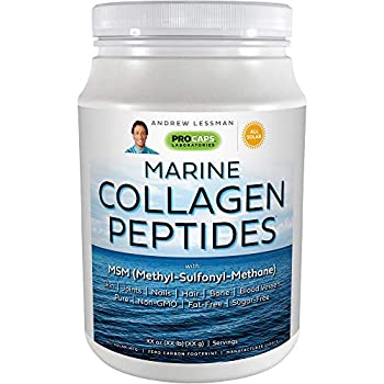 Andrew Lessman Marine Collagen Peptides Powder & MSM 60 Servings - Supports Radiant Smooth Soft Skin Comfortable Joints 100% Pure Super Soluble No Fishy Flavor No Additives Non-GMO