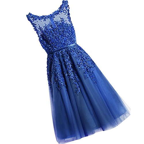 Junior's Scoop Neck Appliques Short Prom Homecoming Dresses Evening Gown Royal,6