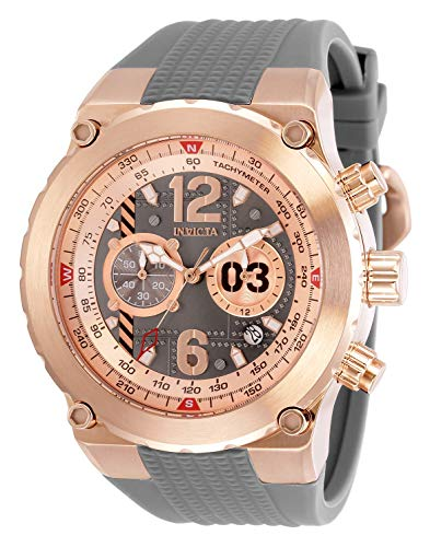 Invicta Men's Aviator Stainless Steel Quartz Watch with Silicone Strap, Grey, 32 (Model: 31583)