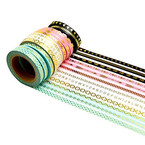 K-LIMIT 12er Set Washi Tape Dekoband Masking Tape Klebeband Scrapbooking DIY 9136