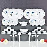 Skyheart Exclusive Unbreakable Plastic Dinner Set of 32 pcs (White & Blue)