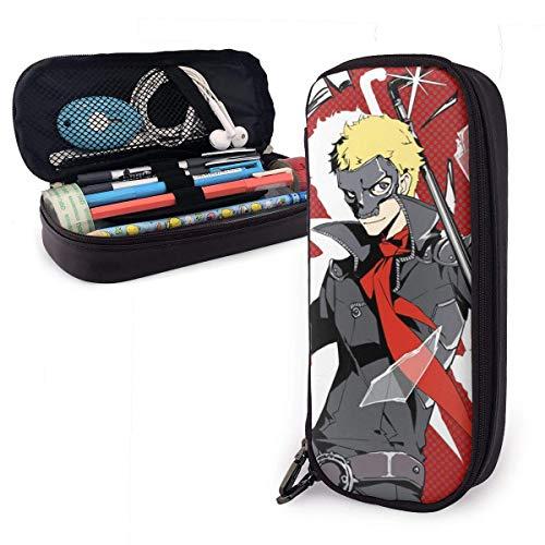 Persona 5 Schädel Ryuji Sakamoto Leder Federmäppchen Aufbewahrung Briefpapier Taschen Halter Box Reißverschluss Unisex für Schule/Beamte/Kapazität/Stift Bleistiftbeutel Box