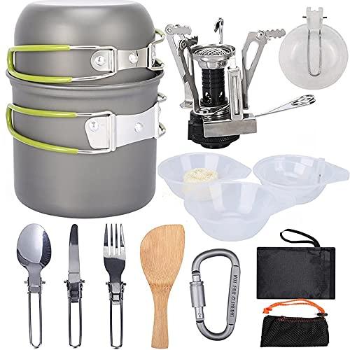 guangfan Camping Cookware Set Portable Lgnition Stove Burner Pot Tableware Bowls Kit Outdoor Hiking Survival Cookers Set