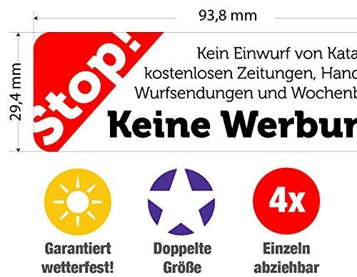 immi 4 St. Extra große Keine Werbung Aufkleber, Stop Briefkastenwerbung