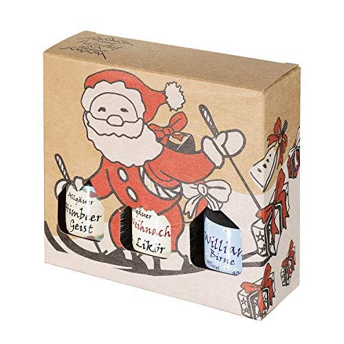 Geschenkset aus dem Allgäu | 3 x 40ml Likör und Spirituosen, davon 40ml Weihnachtslikör | Feiner Weihnachtslikör | Geschenkidee zu Weihnachten