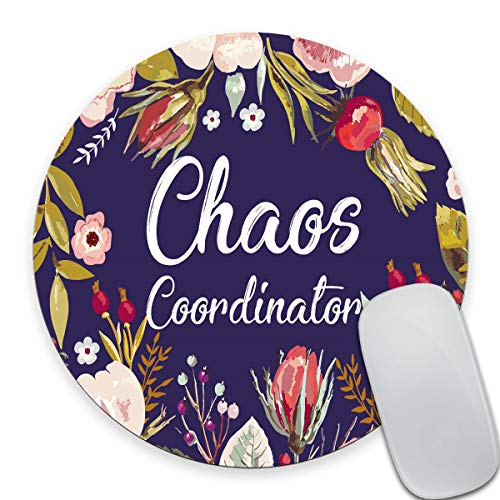 Smooffly Funny Quotes Round Mouse Pad, Chaos Coordinator Quote Vintage Watercolor Floral Wreath Colorful Flowers Print Art Mouse Pads for Computers