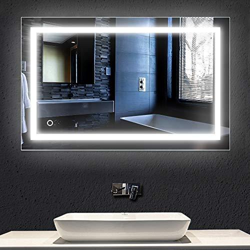 Turefans Espejo baño, Espejo baño con luz, Interruptor táctil, Suspensión Vertical/Horizontal, luz LED Blanca fría