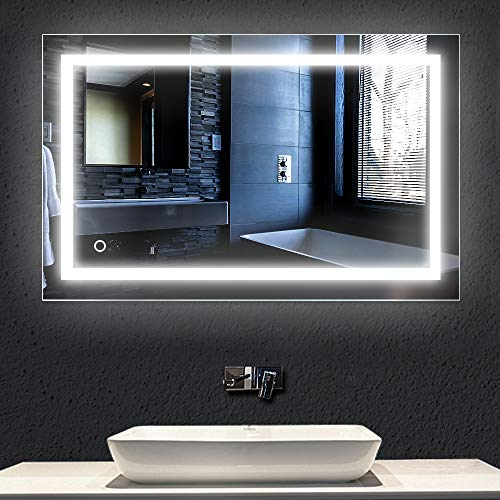 Turefans Espejo de Baño para Tocador y Espejo Espejo de Baño con Iluminación LED/Espejo de Pared Grande/Espejo de Luz/Espejo Baño 100 × 60CM 23W 6000K