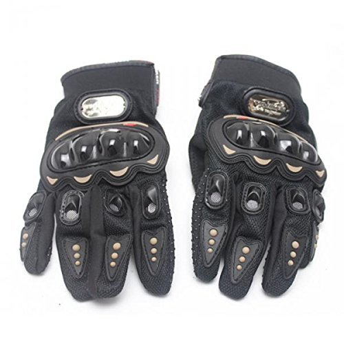 Inzopo Motorrad Motocross Motorrad Racing Vollfinger Handschuhe Pro-Biker Rot M Schwarz L