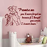 Wall Decals Quote Promise me You'll Never Forget me Winnie The Pooh Tigger Vinyl Sticker Baby Nursery Murals Home Decor 55X96cm