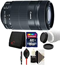 Canon EF-S 55-250mm f/4-5.6 is STM Lens + 16GB Memory Card + Wallet + Rear & Front Lens Cap + Lens Pen + Dust Blower + 3pc Cleaning Kit