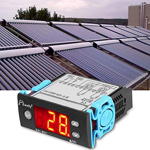 Keenso Solar Wasser Temperaturdifferenzregler, AC 220V 5A Allzweck Digital Temperaturdifferenzregler Differenzthermostat mit Sensor Digitalanzeige für Solarwarmwasserbereiter EW-801AH