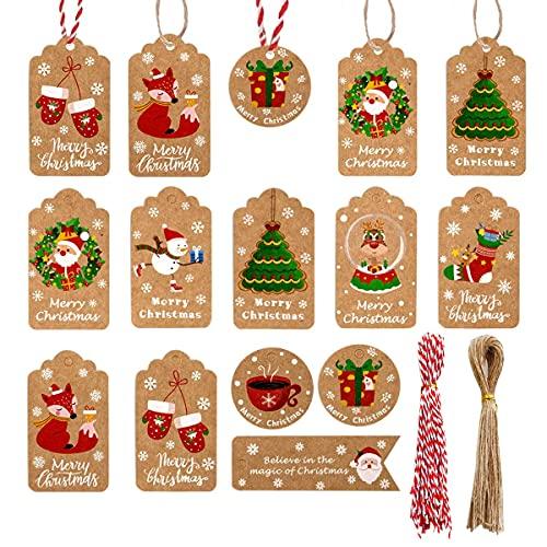 Etiquetas Navidad Kraft Marca PUERHUACI