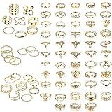 LOLIAS 78Pcs Vintage Oro Knuckle Anillos Set para Nudillos Punk Anillo de Dedo Midi para Mujer Conjuntos de Anillos Falange Bohemio Anillos Apilables Moda para Mujeres Niñas Midi Rings Nudillo