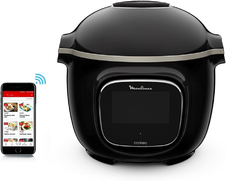 Moulinex Cookeo Touch - Olla inteligente de alta presión WiFi Touch Connect Negro