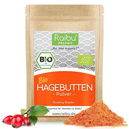 RAIBU® Hagebuttenpulver BIO 500g I Hagebutten Pulver in geprüfter BIO-Qualität Hagebuttenmehl abgefüllt in Deutschland I Hagebutte fein gemahlen aus kontrolliertem Bio-Anbau