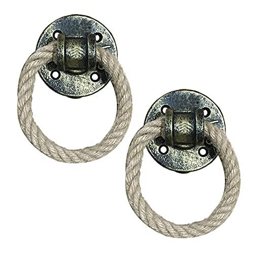 2 piezas Manija de cuerda de cáñamo vintage Tiradores de la puerta de hierro forjado Manillas de Gabinete picaportes de la puerta corredera Perilla del cajón anillo de tiro (Golden bronze)