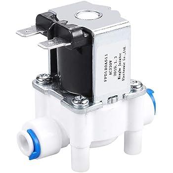 Válvula solenoide de plástico 220 V 1/4 pulgadas manguera de conexión rápida purificador de agua fuente de agua potable interruptor controlador de presión: Amazon.es ...