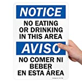 SmartSign - S-1935-EU-14 'Notice - No Eating or Drinking in this Area' Bilingual Label   10' x 14' Laminated Vinyl