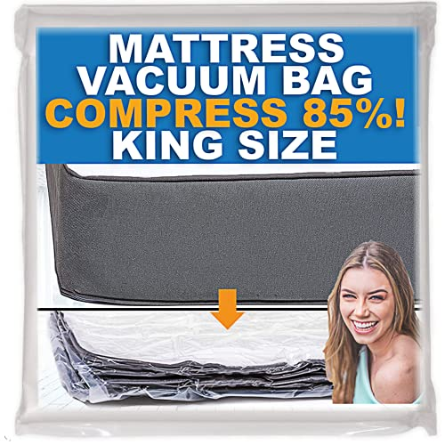 Mattress Vacuum Bag, Sealable Bag for Memory Foam or Inner Spring Mattresses, Compression and Storage for Moving and Returns, Leakproof Valve and Double Zip Seal (King)